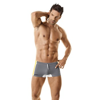 male model in swim trunks