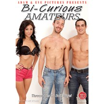 Two topless males one brunette female