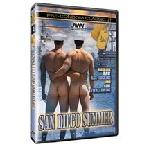 Two males nude in sailor hats rear view