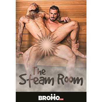 Two males seated anal sex Steam Room