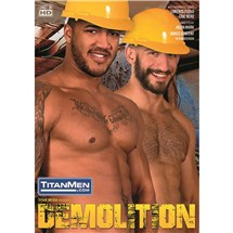 Two topless males in hard hats Demolition