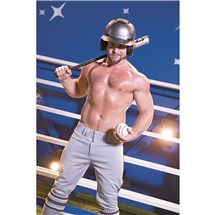 Topless male baseball bat and helmet