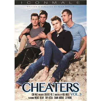Four males holding each other cheaters