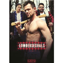 Male posing topless with axe and two other males lumbersexuals