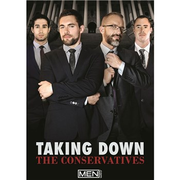 Four males posed wearing suits taking down the conservatives